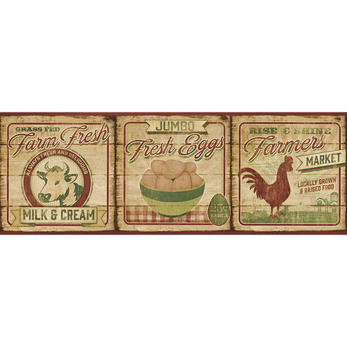 Brewster Home Fashions The Cottage Farmers Market 15' x 6'' Food Border Wallpaper