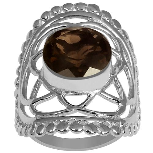 Orchid Jewelry Mfg Inc Orchid Jewelry Silver Overlay 3 1/10ct Cushion-cut Gemstone Smoky Quartz Ring 7