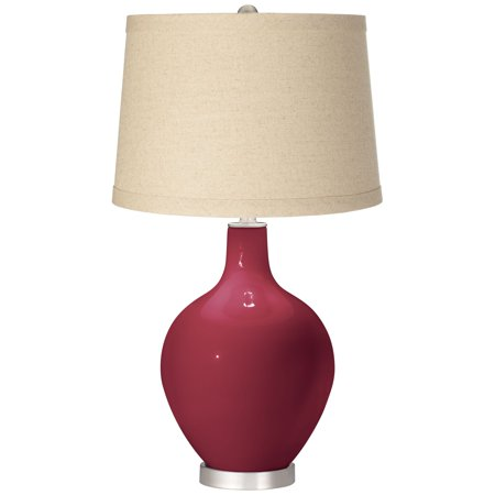 Color + Plus Antique Red Oatmeal Linen Shade Ovo Table Lamp