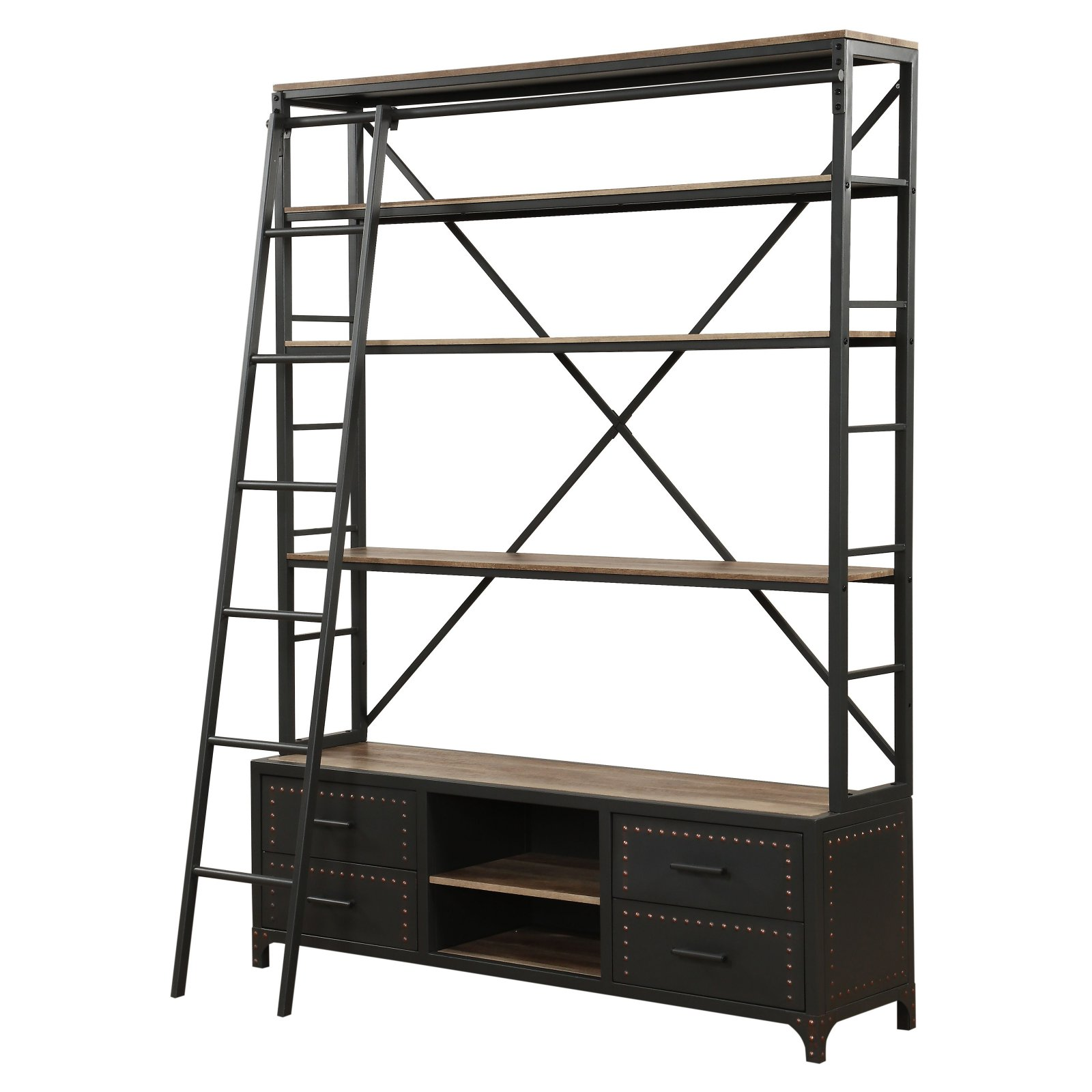 "Acme Furniture Actaki 64""W Bookshelf, Sandy Gray"