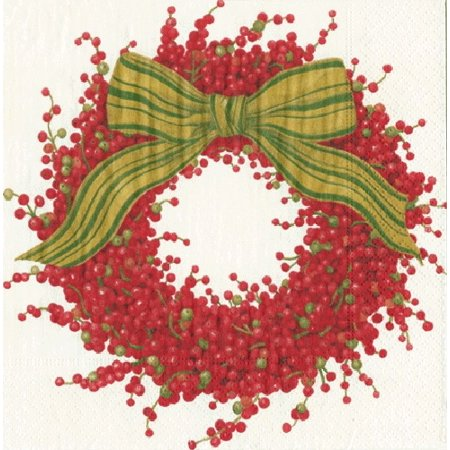 Paper Dinner Napkins Christmas 12740D Berries and Bow Ivory 20pk](Bow Tie Napkins)