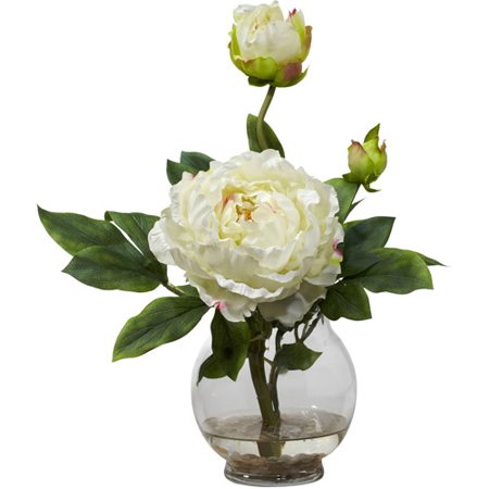 Peony silk flower arrangement with fluted vase white walmart peony silk flower arrangement with fluted vase white mightylinksfo