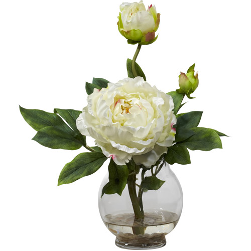 Nearly Natural Peony Silk Flower Arrangement with Fluted Vase, White