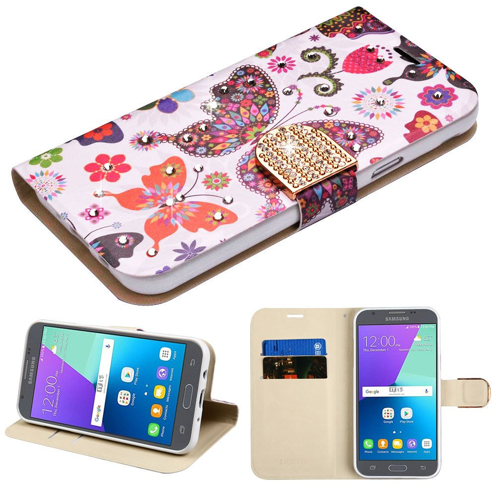 Galaxy J3 Luna Pro case by Insten Butterfly Wonderland Diamante MyJacket Wallet Credit Card Leather Flip Stand Case For Samsung Galaxy Express Prime 2 / J3 (2017)