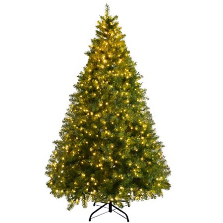 Gymax Pre-Lit 7' Artificial PVC Christmas Tree Hinged 700 LED Lights Metal Stand ()