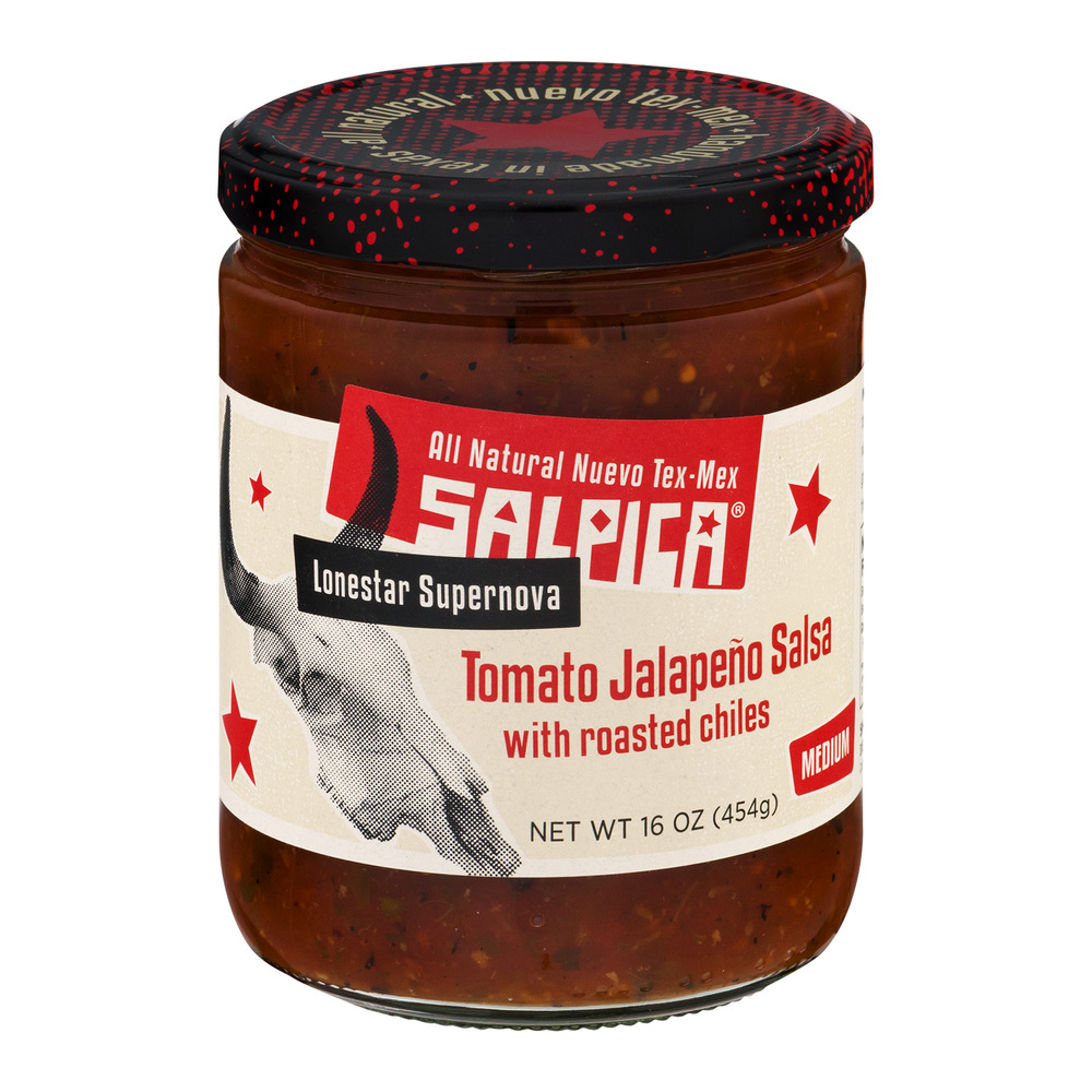 Salpica Lonestar Supernova Tomato Jalapeno Salsa With Roasted Chiles Medium, 16.0 OZ