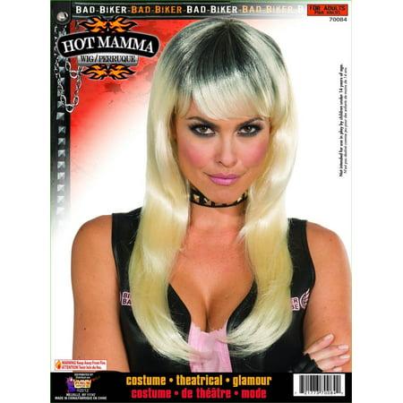 Biker Mama Black Blonde Costume Wig Adult - Biker Wig