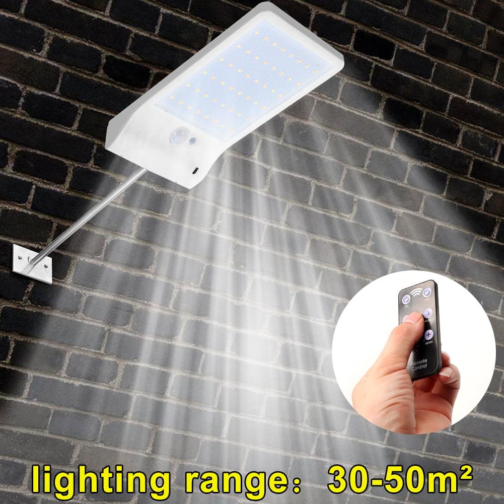 48 LED Street Light Solar Motion Sensor Outdoor Wall Lamp White/Black With Pole