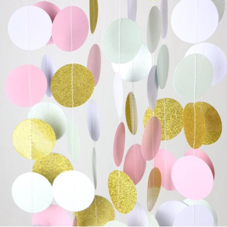 Quasimoon Pink and Gold Circle Paper Garland Banner (9FT) by PaperLanternStore - Gold Banner