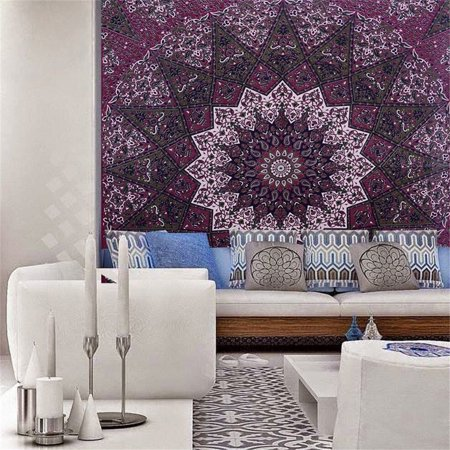 Marsin Star Hippy Tapestries Elephant Mandala Large Tapestry Hippie Bohemian Wall Hanging Boho College Dorm Beach Throw Cotton Queen Bedsheet Wall Art Decor(57''x57'') (Bohemian Stars)