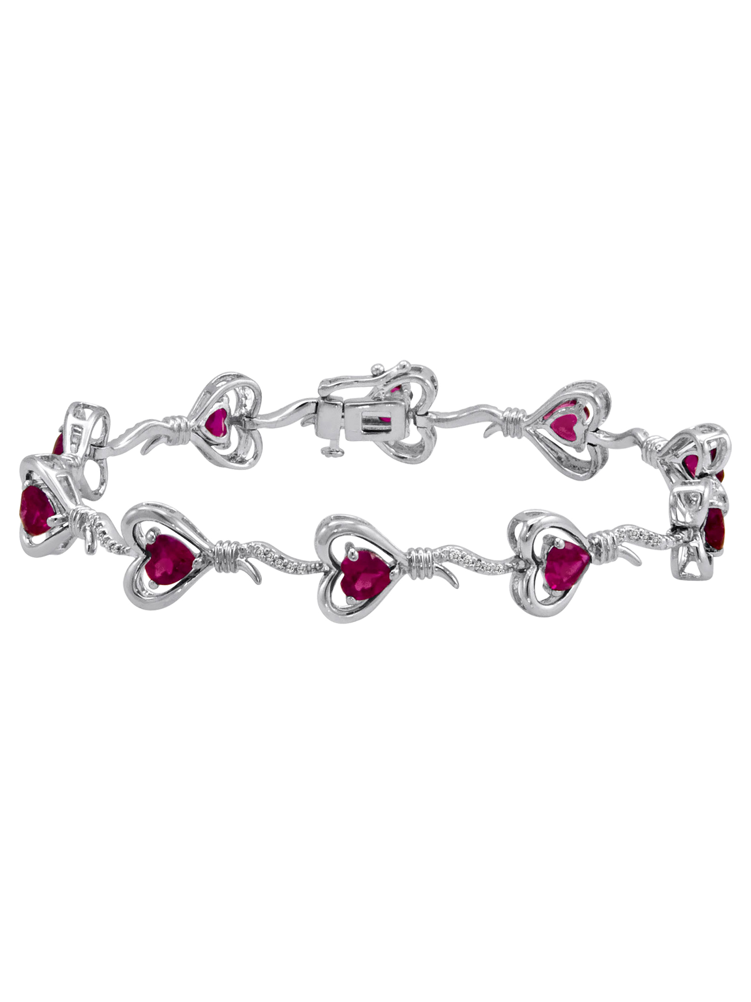 """Knots of Love Sterling Silver Created Ruby with Diamond Accent Heart Bracelet, 7.5"""""""