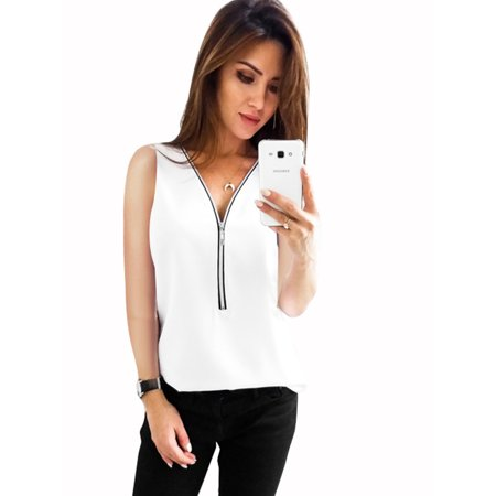 e02021efbb37c Plus Size Women Casual Zip Neck Tops Shirt Ladies V Neck Zipper Loose  T-Shirt Fashion Summer Blouse Sleeveless Tee Top