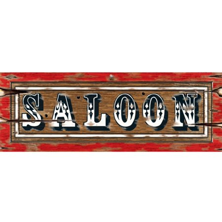 Pack of 24 Western Style Wood-Look Saloon Double-Sided Party Banner Signs 22