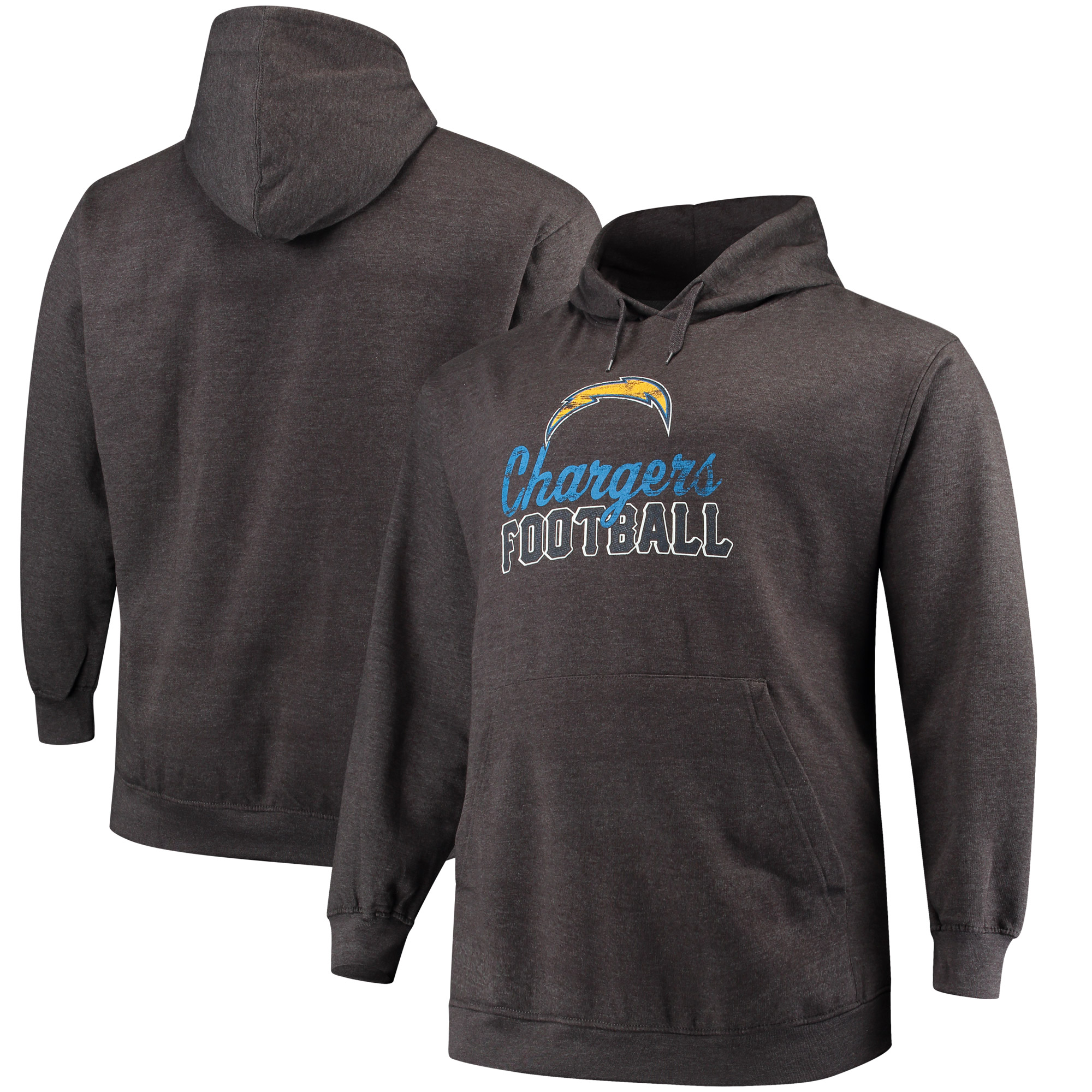 Los Angeles Chargers Majestic Big & Tall Script Kick Return Pullover Hoodie - Charcoal