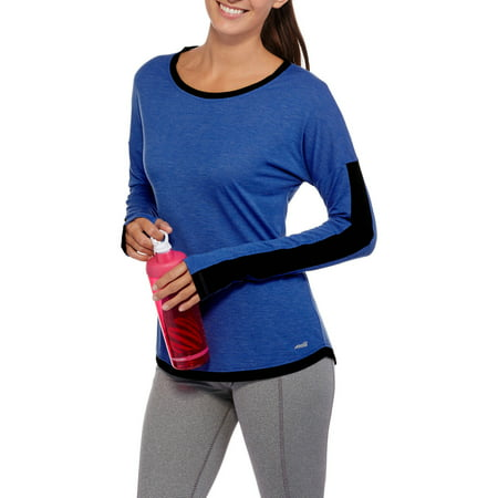 Avia Women's Long Sleeve Performance T-Shirt with Colorblock Sleeves