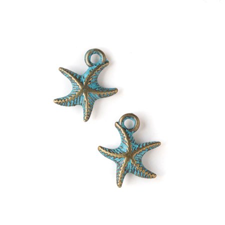 Cherry Blossom Beads Green Bronze Colored Pewter 14x17mm Starfish Charm - 10 per bag