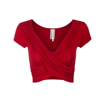 60c6b47fbe5 KOGMO Womens Short Sleeve Criss Cross Crop Top