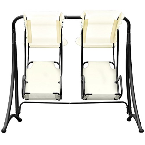 GHP Beige 600D Oxford Steel Tube Polyester Fabric 2-Person Hammock Porch Swing Chair