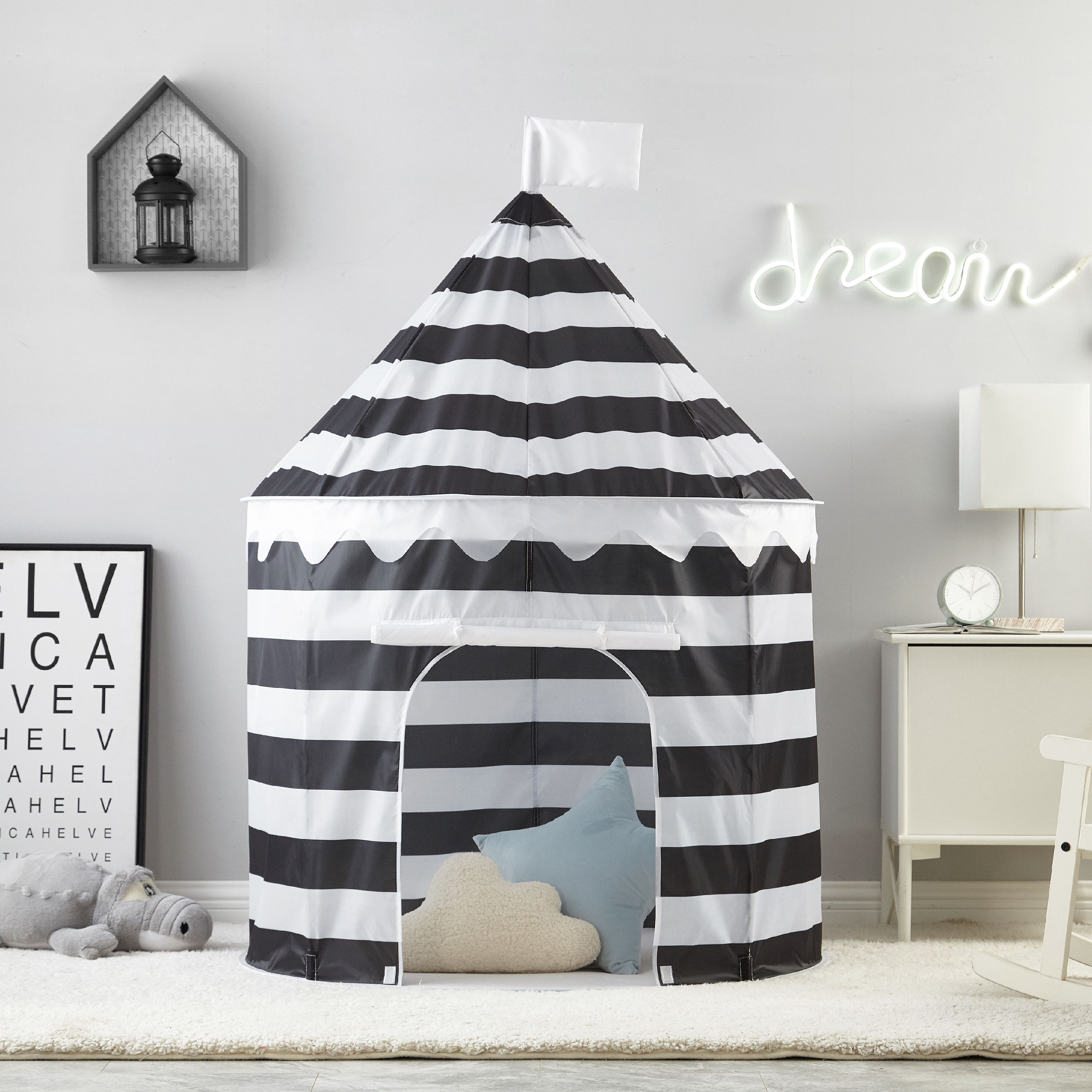 Mainstays Circular Kids Play Tent, Black and White Stripe