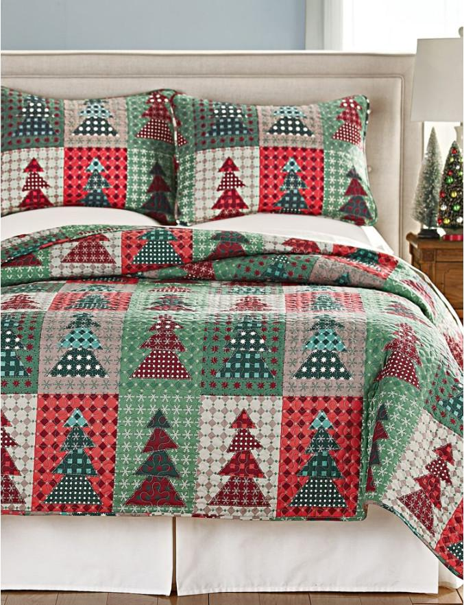 Christmas Quilt Set Green Twin Size Lightweight Bedspread Coverlet Santa Clause Christmas Tree Pattern Bedding Quilt Bed Set Gift for Kids Girls Adults,1 Quilt,2 Pillow Shams