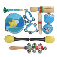 HURRISE 10Pcs Kids Children Educational Musical Percussion Instruments Set Toy Tambourine Bells, Kid Musical Toy, Hand Bell