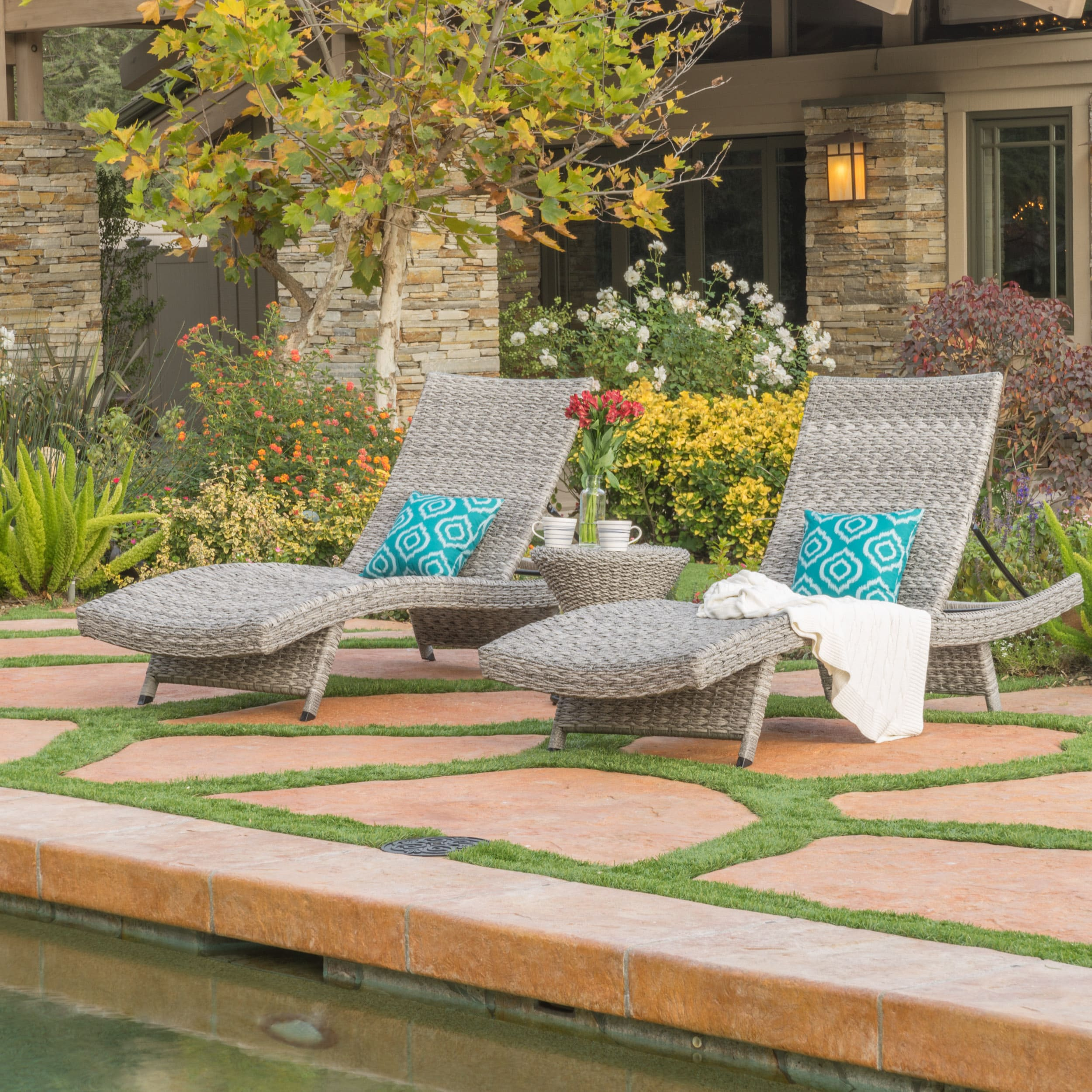 Christopher Knight Home Crete Outdoor 3-piece Wicker/Aluminum Adjustable Chaise Lounge Set by