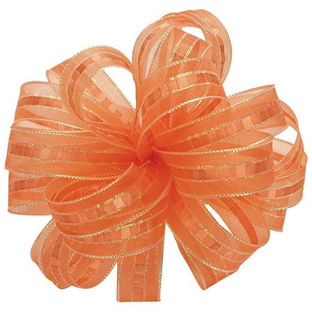 Offray Ilissa Sheer and Satin Craft Ribbon, 5/8-Inch Wide by 25-Yard Spool, Orange/Opal