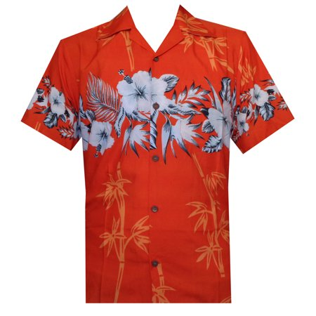 fdc4f67e HOLIDAY - Hawaiian Shirt 35 Mens Bamboo Tree Print Beach Aloha Party Holiday  Orange XL - Walmart.com