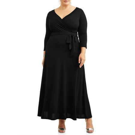 Ella Samani Women's Plus Size 3/4 Sleeve Classic Wrap Dress