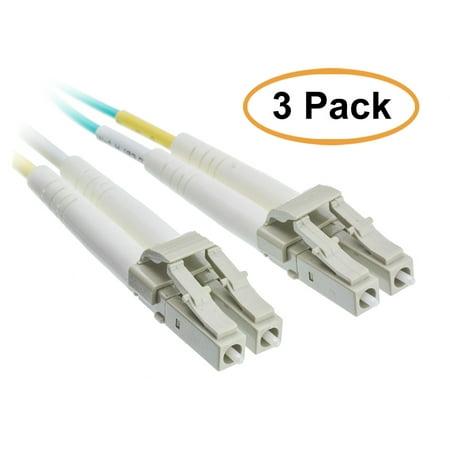 eDragon 10 Gigabit Aqua Fiber Optic Cable, LC/LC, Multimode, Duplex, 50/125, 8 Meter (26.2 Foot), 3 Pack
