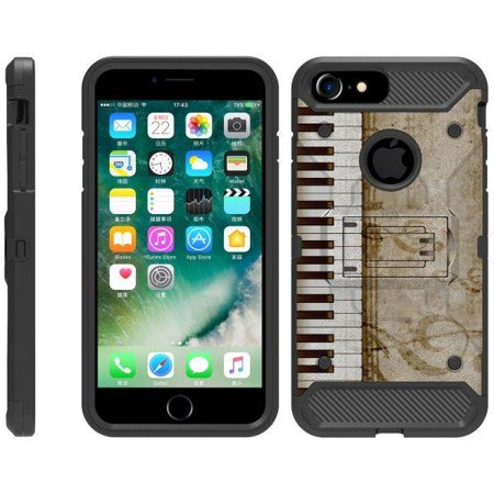 TurtleArmor ® | For Apple iPhone 6 | Apple iPhone 6s [Full Body Protection] Hybrid Kickstand Rugged Cover Holster Belt Clip Case - Piano Keys