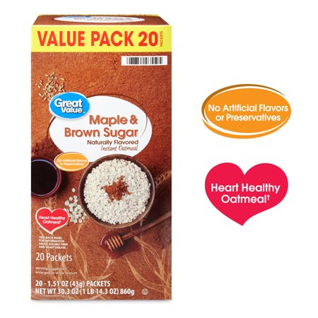 (2 Pack) Great Value Maple & Brown Sugar Instant Oatmeal, 1.51 oz, 20 Count