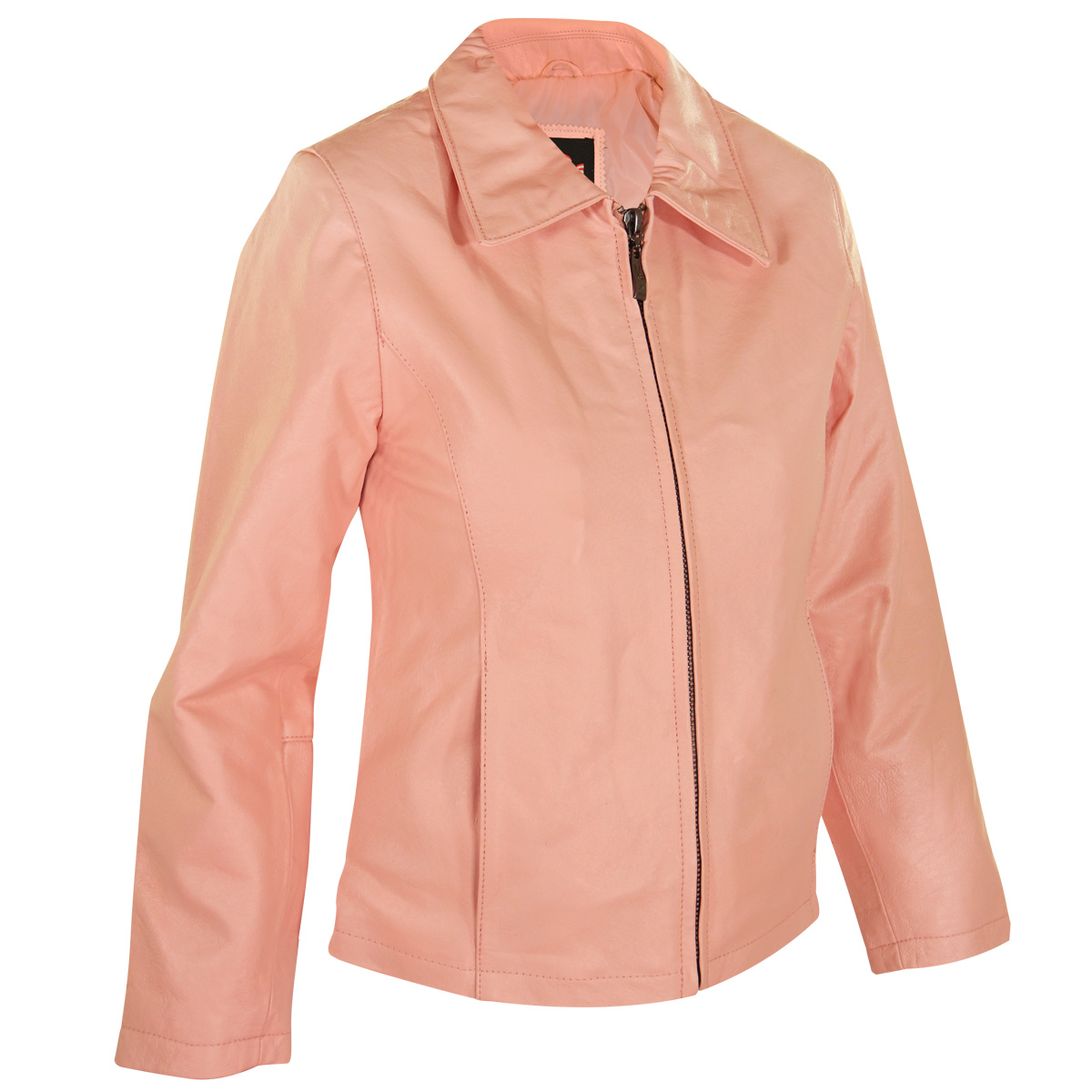 USA Leather Womens Pink Short Zipper Leather Jacket