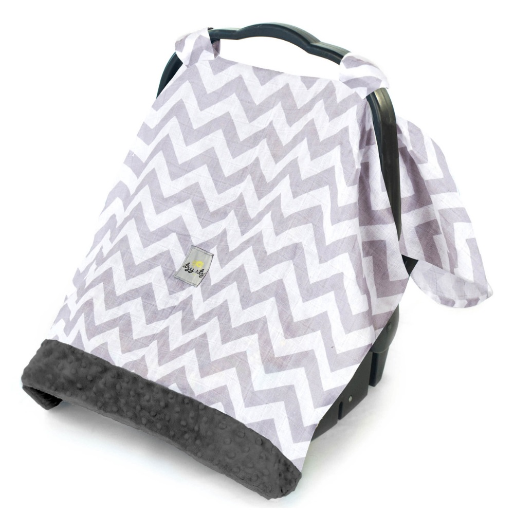 Cozy Happens Infant Car Seat Canopy Muslin - C. Grey Chevron/Charcoal Minky