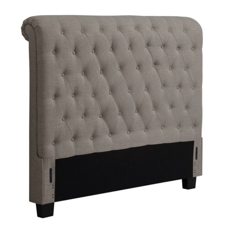 Bowery Hill Queen Tufted Sleigh Headboard in Gray