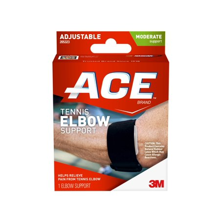 Ace Tennis Elbow Support  One Size Adjustable  Black  1 Pack