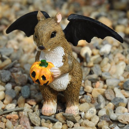 Miniature Halloween Squirrel with Bat Wings for Miniature Garden, Fairy - Resin Squirrel