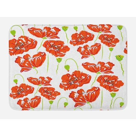 (Anemone Flower Bath Mat, Doodle Style Poppy Anemone Field in Full Blossom May Flowers, Non-Slip Plush Mat Bathroom Kitchen Laundry Room Decor, 29.5 X 17.5 Inches, Scarlet Lime Green Black, Ambesonne)