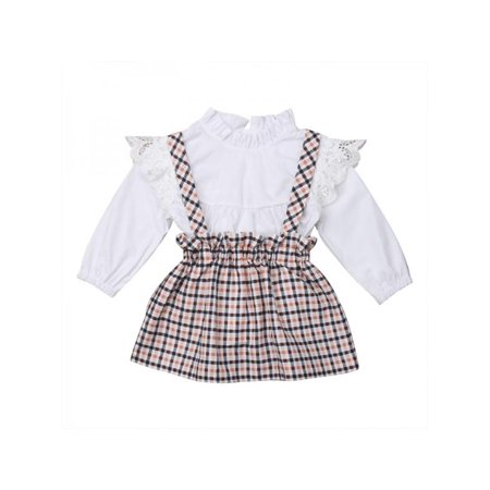 Lavaport 0-4Y Kid Girl Stand Collar Shirts + Plaid Strap Dress Outfits Princess Clothing Suit