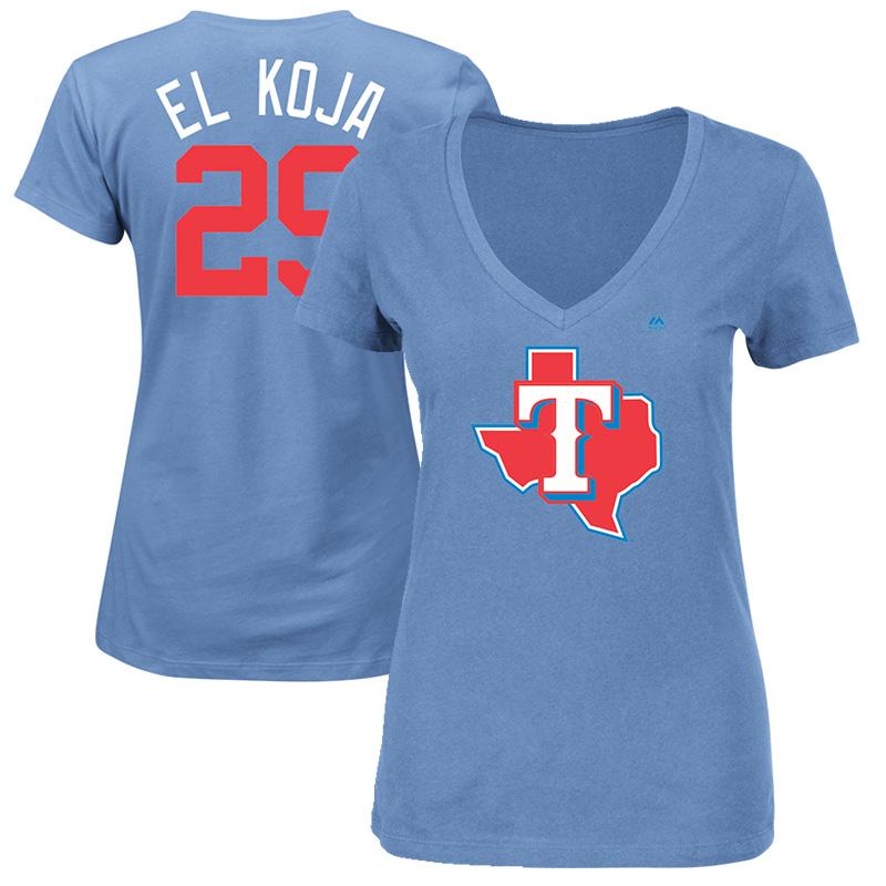 "Adrian Beltre ""El Koja"" Texas Rangers Majestic Women's 2017 Players Weekend Name & Number T-Shirt - Light Blue"
