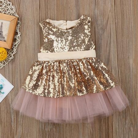 5ae211ac8 Fashion Princess Kids Baby Girls Sequins Dress Party Dress Wedding ...