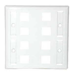 8PORT WHITE KEYSTONE DOUBLE GANG WALL PLATE
