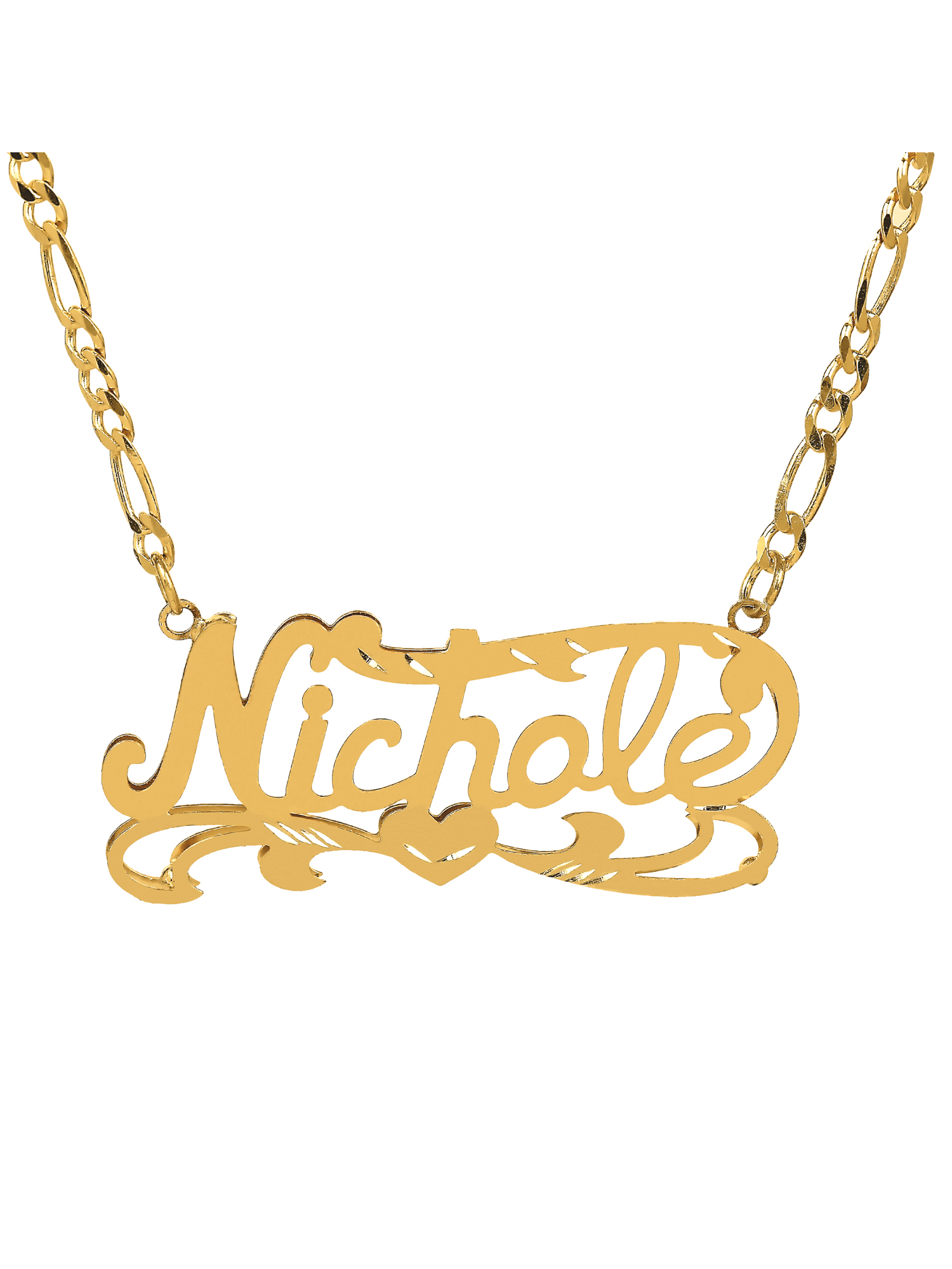 Personalized 10K Yellow Gold Diamond Cut Nameplate Necklace with an 18 inch Gold Filled Figaro Chain by Supplier Generic