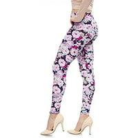 LMB Lush Moda Extra Soft Leggings with Designs- Variety of Prints - 703F Purple Floral B5