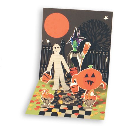 Up With Paper Tricks or Treats Pop-Up Halloween Card