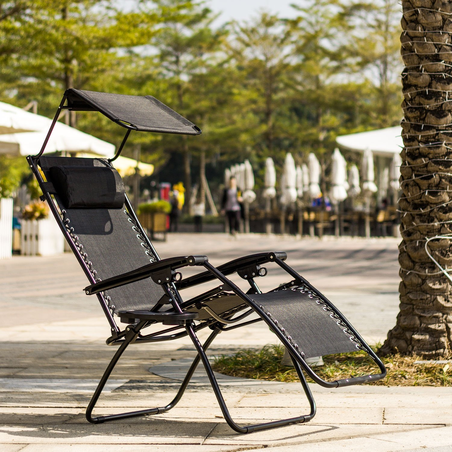 Best Choice Products Zero Gravity Chair w/ Canopy Shade & Magazine Cup Holder