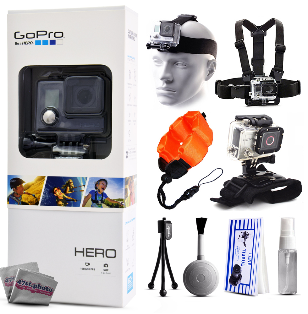 GoPro HERO Action Camera CHDHA-301 with Headstrap + Chest Harness Mount + Wrist Glove Strap + ...