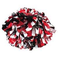 Pizzazz Black Red White 3 Color Plastic Cheer Single Pom Pom