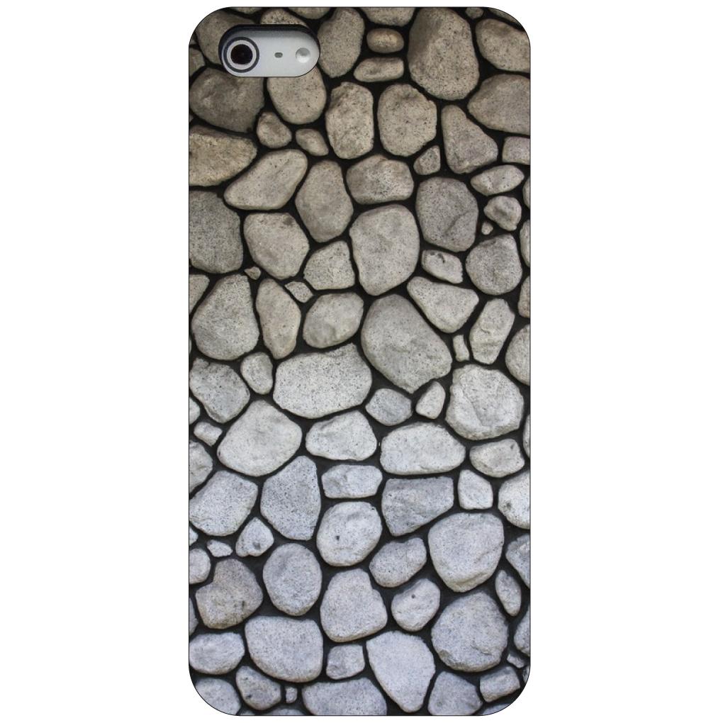 CUSTOM Black Hard Plastic Snap-On Case for Apple iPhone 5 / 5S / SE - Flag Stone Wall