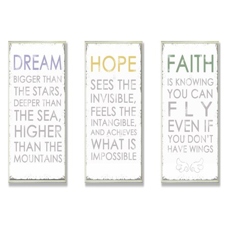 The Stupell Home Decor Collection Dream Hope And Faith Inspirational Wall Art Plaques - Set of 3 ()